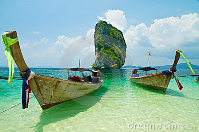 Fishing thai boats and landmark at Poda island