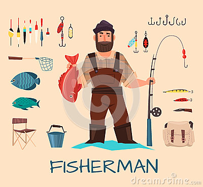 Free Fishing Tools Illustration Royalty Free Stock Photography - 76294427