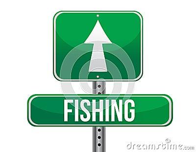 Fishing traffic road sign