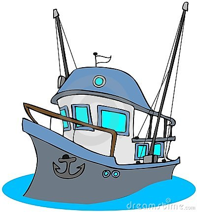 Fishing Boat Cartoon Fishing Boat Trawler Stock