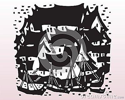 Fishing village silhouette