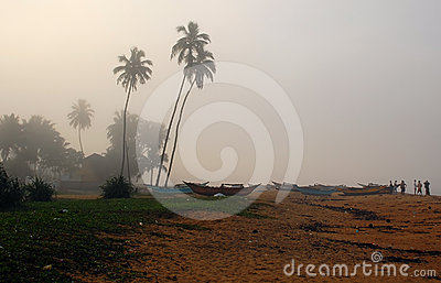 Fishing Village in Sri Lanka on a Foggy Morning