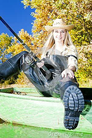 Fishing Woman Royalty Free Stock Images - Image: 19989979