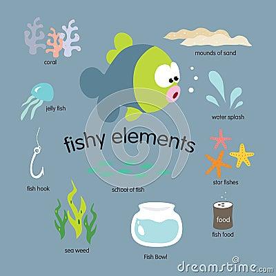 Free Fishy Elements Set Stock Photography - 9987232