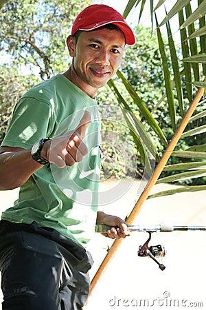 Fiske hobby på tillbringar veckoslutet