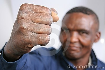 Fist of angry black man