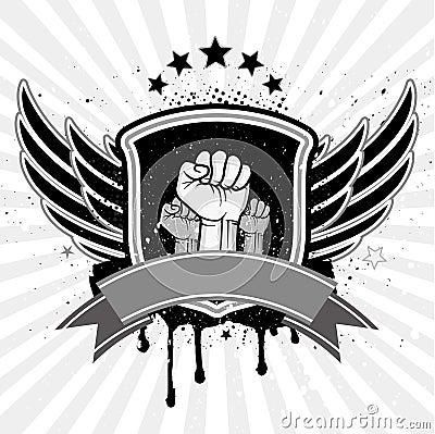 fist emblem and shield