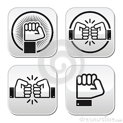 Fist, fist bump  buttons set