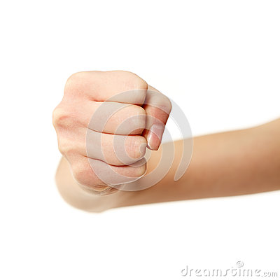 Fist gesturing female hands isolated on white