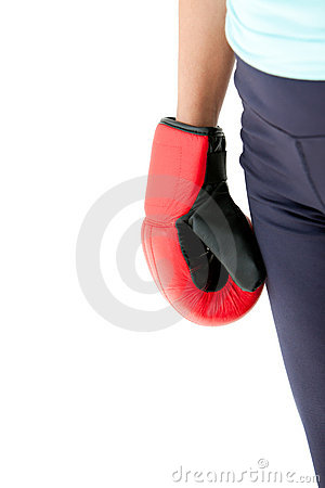 Fist of a hispanic woman wearing boxing gloves