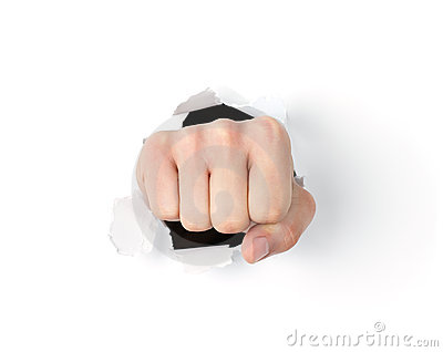 Fist punching through the hole