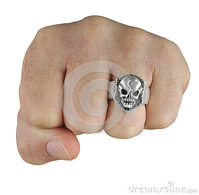 Fist with skull ring
