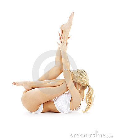 Free Fit Blond In White Underwear P Stock Photography - 3517332