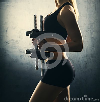 Free Fit Body Of Beautiful, Healthy And Sporty Woman With A Dumbbells. Royalty Free Stock Image - 103381446