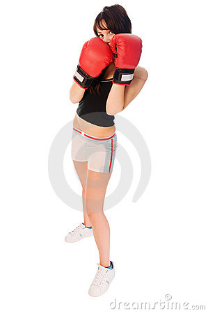 Fit girl with boxing gloves