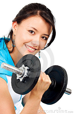 Fit girl lifting weights