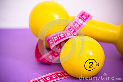 Fit life: set of dumbbells and measuring tape