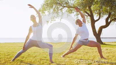 Fit man and beautiful woman practicing yoga outdoor on the grass. Sea, sky and the tree on the background. Stretching stock footage