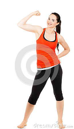 Fit sporty woman flexing muscles