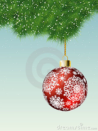Fit-tree branch with red christmas ball. EPS 8