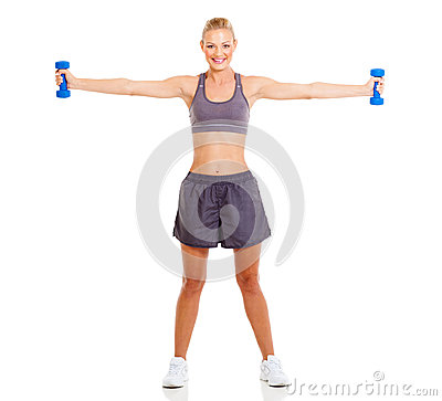 Fit woman dumbbells