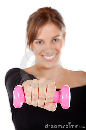Fit woman with free-weights