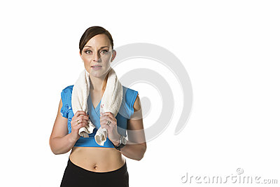 Woman exercise towel