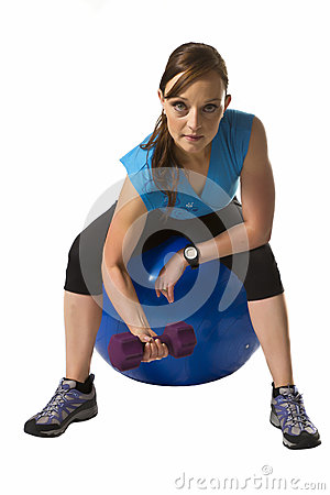 Woman train exercise ball