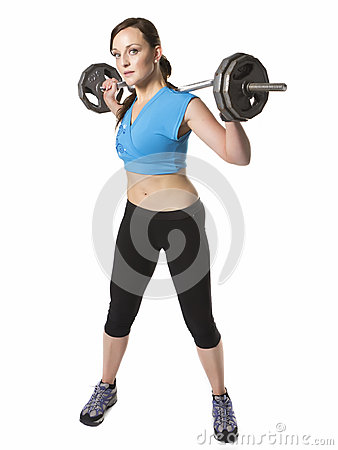 Woman exercise barbell weights