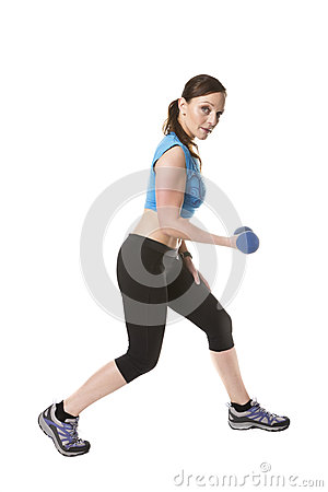 Woman dumbbell exercise training