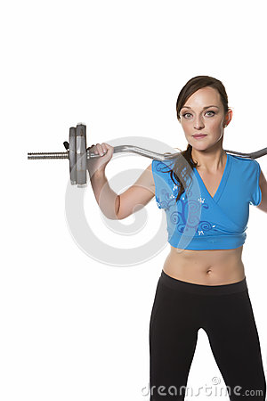 Woman exercise barbell weight