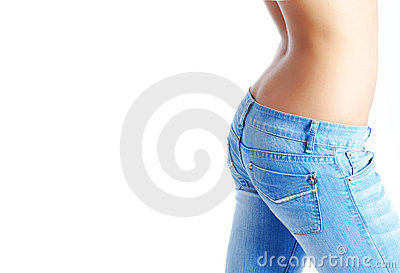 Fit woman wearing blue  jeans