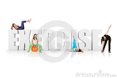 Fit Women Around Word Exercise Stock Image - Image: 15727781