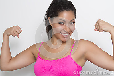 Fit young female flexing