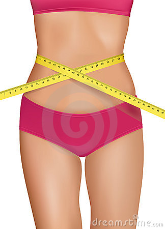 Fit young woman body with measured waistline.