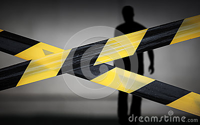 Fitas e violador listrados pretos e amarelos