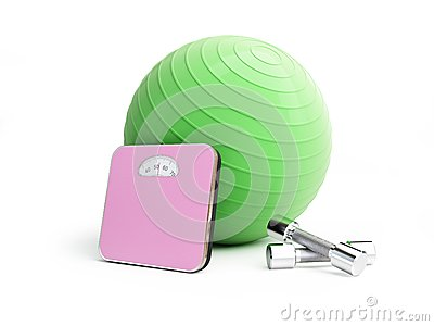 Fitness ball bathroom scale, weights