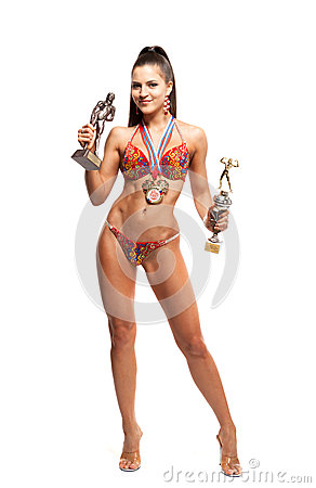 Free Fitness Bikini Athlete With Winning Medals Royalty Free Stock Image - 39330186
