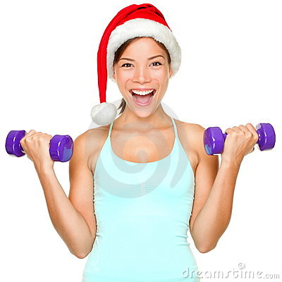 Free Fitness Christmas Woman Training Stock Photos - 21473153