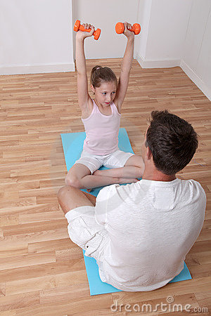 Free Fitness Coach And Little Girl Royalty Free Stock Photos - 20289908