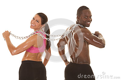 Fitness couple back chain looking