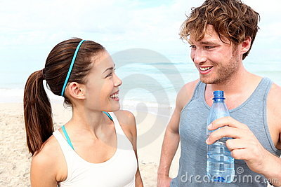 Fitness couple on beach