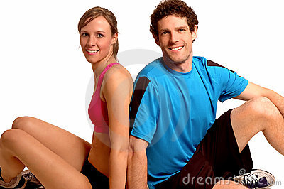 Fitness couple relaxing