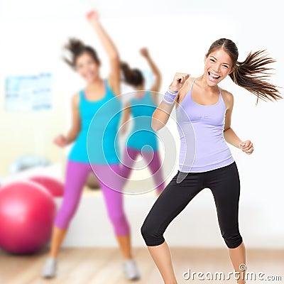 Dancing woman fitness dance studio class