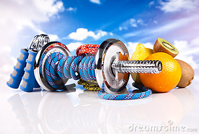 Fitness dumbbells with  fruits