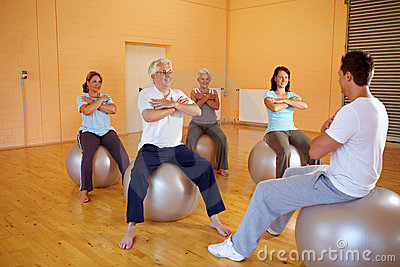 Fitness exercises on exercise ball