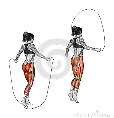 Free Fitness Exercising. Jumping Rope. Female Stock Photo - 45754350