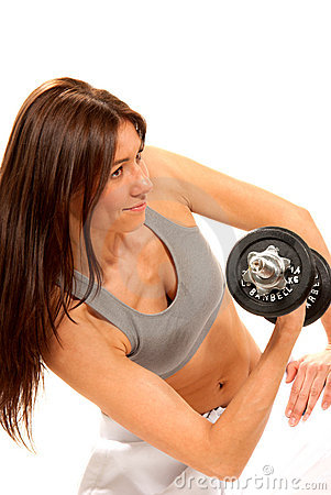 Fitness Female Gym Instructor Workout Dumbbells Royalty Free Stock Photography - Image: 18234167