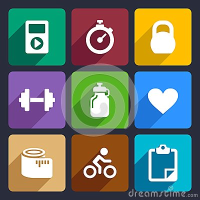 Fitness flat icons set 18