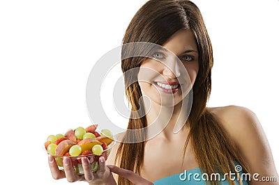 Fitness fruit girl
